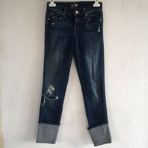 MOTHER Ponyboy Distressed Straight Leg Ankle Jeans